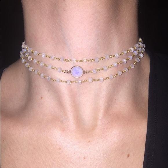81519e28b2f17 Moonstone Triple Wrap Choker Necklace + Bracelet Boutique